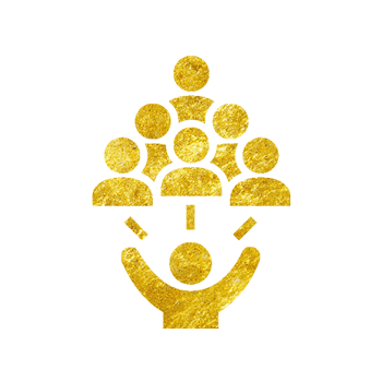 Gold icon of a man with his hands up and people above him